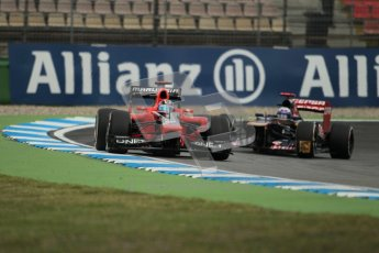 © 2012 Octane Photographic Ltd. German GP Hockenheim - Friday 20th July 2012 - F1 Practice 1. Marussia MR01 - Timo Glock under pressure from the Toro Rosso STR7 of Daniel Ricciardo. Digital Ref : 0410lw1d4190