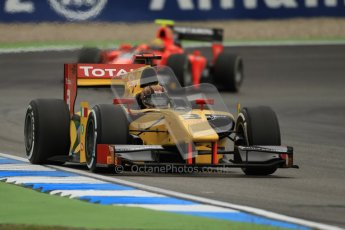 © 2012 Octane Photographic Ltd. German GP Hockenheim - Friday 20th July 2012 - GP2 Practice 1 - Dams - Davide Valsecchi followed by the Carlin of Rio Haryanto. Digital Ref : 0412lw7d4781