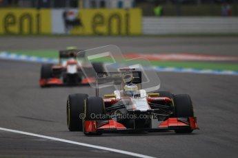 © 2012 Octane Photographic Ltd. German GP Hockenheim - Saturday 21st July 2012 - F1 Qualifying session 1. HRT F112 two ship formation - Pedro de La Rosa followed by Narain Karthikeyan. Digital Ref : 0417lw1d3121