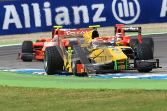 © 2012 Octane Photographic Ltd. German GP Hockenheim - Saturday 21st July 2012 - GP2 Race 1 - Dams - Felipe Nasr leads Luiz Razia and Max Chilton. Digital Ref : 0419lw1d4107
