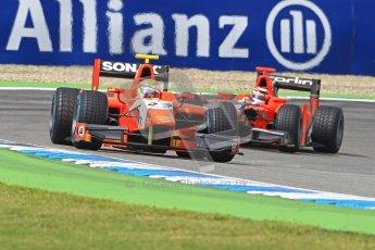 © 2012 Octane Photographic Ltd. German GP Hockenheim - Saturday 21st July 2012 - GP2 Race 1 - Arden International - Luiz Razia fends off the Carlin of Max Chilton. Digital Ref : 0419lw1d4214