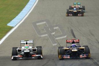 © 2012 Octane Photographic Ltd. German GP Hockenheim - Sunday 22nd July 2012 - F1 Race. Sauber C31 - Sergio Perez slides up the inside of Daniel Ricciardo's Toro Rosso. Digital Ref : 0423lw1d5080