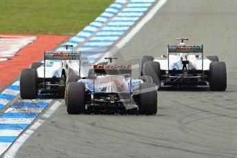 © 2012 Octane Photographic Ltd. German GP Hockenheim - Sunday 22nd July 2012 - F1 Race. Toro Rosso STR7 - Daniel Ricciardo gets squeezed by the pair of fighting Saubers of Kamui Kobayashi and Sergio Perez. Digital Ref : 0423lw1d5086