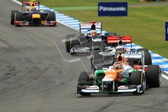 © 2012 Octane Photographic Ltd. German GP Hockenheim - Sunday 22nd July 2012 - F1 Race. Force India VJM05 -  Nico Hulkenberg, Jenson Button, Pastor Maldonado and Mark Webber into the hairpin. Digital Ref : 0423lw1d5130