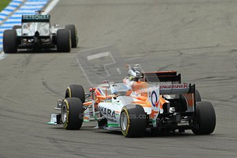 © 2012 Octane Photographic Ltd. German GP Hockenheim - Sunday 22nd July 2012 - F1 Race. McLaren MP4/27 - Jenson Button - move complete - as he passes the Force India VJM05 of Nico Hulkenberg. Digital Ref : 0423lw1d5229