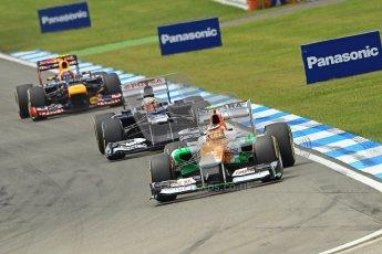 © 2012 Octane Photographic Ltd. German GP Hockenheim - Sunday 22nd July 2012 - F1 Race. Force India VJM05 -  Nico Hulkenberg, Pastor Maldonado and Mark Webber into the hairpin. Digital Ref : 0423lw1d5253