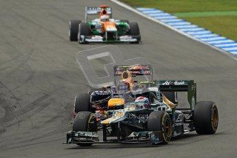 © 2012 Octane Photographic Ltd. German GP Hockenheim - Sunday 22nd July 2012 - F1 Race. Red Bull RB8 - Mark Webber and Caterham CT01 of Vitaly Petrov. Digital Ref : 0423lw1d5423