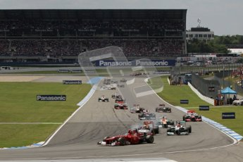 © 2012 Octane Photographic Ltd. German GP Hockenheim - Sunday 22nd July 2012 - F1 Race. Ferrari F2012 - Fernando Alonso leads the pack on the opening lap - a lead he never relinquished. Digital Ref : 0423lw7d8554