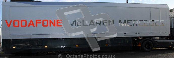 © 2012 Octane Photographic Ltd/ Carl Jones. Vodafone McLaren Mercedes Truck, Goodwood Festival of Speed. Digital Ref: 0389cj7d6833