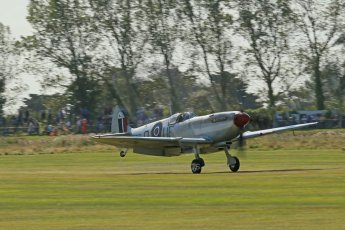 World © 2012 Octane Photographic Ltd. Goodwood Revival. September 15th 2012. Spitfire landing. Digital Ref : 0521cb1d9868