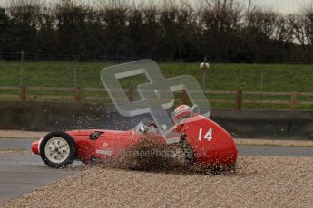 © Octane Photographic Ltd. HSCC Donington Park 17th March 2012. Historic Formula Junior Championship (Front engine). Crispian Besley - Elva 100. Digital ref : 0241lw7d5593