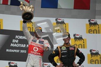© 2012 Octane Photographic Ltd. Hungarian GP Hungaroring - Sunday 29th July 2012 - F1 Podium. Lewis Hamilton - Race winner and Romain Grosjean, 3rd. Digital Ref :