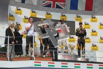 © 2012 Octane Photographic Ltd. Hungarian GP Hungaroring - Sunday 29th July 2012 - F1 Podium. Lewis Hamilton - Race winner, Sam Michael, Kimi Raikkonen, 2nd and Romain Grosjean, 3rd. Digital Ref :