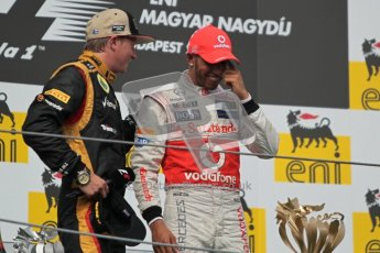 © 2012 Octane Photographic Ltd. Hungarian GP Hungaroring - Sunday 29th July 2012 - F1 Podium. Lewis Hamilton - Race winner, and Kimi Raikkonen, 2nd. Digital Ref :