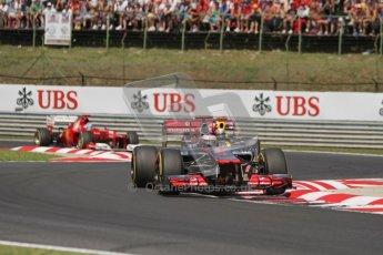 © 2012 Octane Photographic Ltd. Hungarian GP Hungaroring - Sunday 29th July 2012 - F1 Race. McLaren MP4/27 - Lewis Hamilton, Red Bull RB8 - Sebastian Vettel and Ferrari F2012 - Fernando Alonso. Digital Ref :