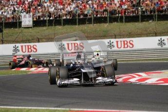 © 2012 Octane Photographic Ltd. Hungarian GP Hungaroring - Sunday 29th July 2012 - F1 Race. Williams FW34 - Pastor Maldonado, Sauber C31 - Sergio Perez and Toro Rosso STR7 - Daniel Ricciardo. Digital Ref :
