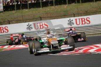 © 2012 Octane Photographic Ltd. Hungarian GP Hungaroring - Sunday 29th July 2012 - F1 Race. Force India VJM05 - Paul di Resta and the 2 Toro Rosso STR7s of Daniel Ricciardo and Jean-Eric Vergne. Digital Ref :