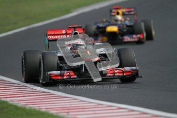 © 2012 Octane Photographic Ltd. Hungarian GP Hungaroring - Sunday 29th July 2012 - F1 Race. McLaren MP4/27 - Jenson Button and Red Bull RB8 - Sebastian Vettel. Digital Ref :