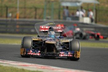 © 2012 Octane Photographic Ltd. Hungarian GP Hungaroring - Saturday 28th July 2012 - F1 Practice 3. Toro Rosso STR7 - Jean-Eric Vergne and McLaren MP4/27 - Jenson Button. Digital Ref : 0429lw1d6736