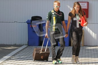 © 2012 Octane Photographic Ltd. Hungarian GP Hungaroring - Saturday 28th July 2012 - F1 Practice 3. Caterham CT01 - Heikki Kovalainen and Catherine Hyde. Digital Ref : 0429lw7d5889