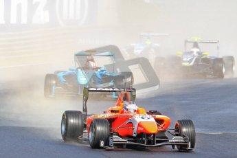 © 2012 Octane Photographic Ltd. German GP Hockenheim - Saturday 21st July 2012 - GP3 Race 1 - MW Arden - Matias Laine leads the pack on the still wet track on lap 1. Digital Ref :