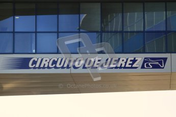© 2012 Octane Photographic Ltd. Jerez Winter Test Day 1 - Tuesday 7th February 2012. Jerez circuit sign above the pitlane. Digital Ref : 0217lw7d3000