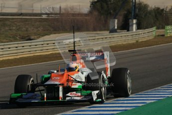 © 2012 Octane Photographic Ltd. Jerez Winter Test Day 1 - Tuesday 7th February 2012. Force India VJM05 - Paul di Resta. Digital Ref : 0217lw7d3964