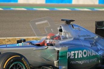 © 2012 Octane Photographic Ltd. Jerez Winter Test Day 2 - Wednesday 8th February 2012. Mercedes MGP W02 - Michael Schumacher. Digital Ref : 0218lw1d5221