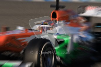 © 2012 Octane Photographic Ltd. Jerez Winter Test Day 2 - Wednesday 8th February 2012. Force India VJM05 - Jules Bianchi. Digital Ref : 0218lw1d5459_blur
