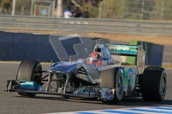 © 2012 Octane Photographic Ltd. Jerez Winter Test Day 2 - Wednesday 8th February 2012. Mercedes MGP W02 - Michael Schumacher. Digital Ref : 0218lw1d5594