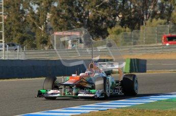 © 2012 Octane Photographic Ltd. Jerez Winter Test Day 2 - Wednesday 8th February 2012. Force India VJM05 - Jules Bianchi. Digital Ref : 0218lw1d5690