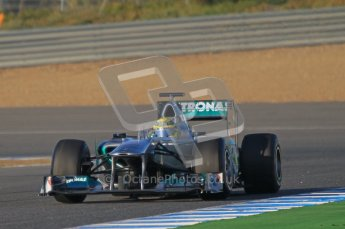 © 2012 Octane Photographic Ltd. Jerez Winter Test Day 3 - Thursday 9th February 2012. Mercedes MGP W02 - Nico Rosberg. Digital Ref : 0219lw1d6556