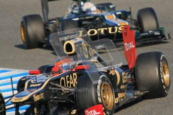 © 2012 Octane Photographic Ltd. Jerez Winter Test Day 3 - Thursday 9th February 2012. Lotus E20 - Romain Grosjean and Caterham CT01 - Giedo van der Garde. Digital Ref : 0219lw1d6996