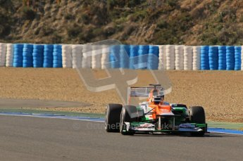 © 2012 Octane Photographic Ltd. Jerez Winter Test Day 4 - Friday 10th February 2012. Force India VJM05 - Nico Hulkenberg. Digital Ref : 0221lw1d9622