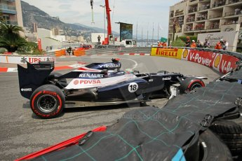 © Octane Photographic Ltd. 2012. F1 Monte Carlo - Race. Sunday 27th May 2012. Pastor Maldonado retires at the Fairmont hotel hairpin with front wing damage - Williams. Digital Ref : 0357cb1d7731