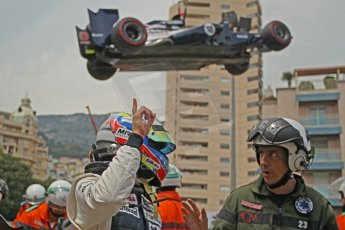 © Octane Photographic Ltd. 2012. F1 Monte Carlo - Race. Sunday 27th May 2012. Pastor Maldonado retires at the Fairmont hotel hairpin with front wing damage - Williams. Digital Ref : 0357cb1d7757