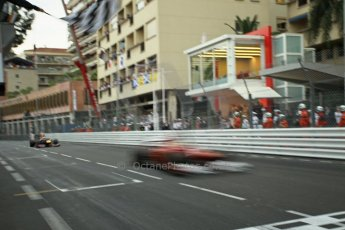 © Octane Photographic Ltd. 2012. F1 Monte Carlo - Race. Sunday 27th May 2012. Fernando Alonso blurs over the line in his Ferrari with Nico Rosberg's Mercedes chasing hard. Digital Ref : 0357cb1d8030