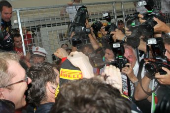 © Octane Photographic Ltd. 2012. F1 Monte Carlo - Race. Sunday 27th May 2012. Mark Webber is congratulated by his Red Bull teammates. Digital Ref : 0357cb1d8119