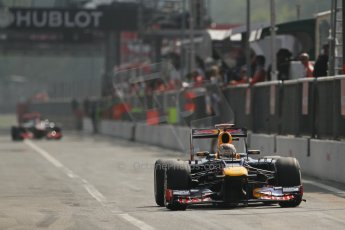 © 2012 Octane Photographic Ltd. Italian GP Monza - Saturday 8th September 2012 - F1 Qualifying. Red Bull RB8 - Sebastian Vettel and McLaren MP4/27 - Jenson Button. Digital Ref :