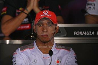 World © Octane Photographic Ltd. Formula 1 Italian GP, Press Conference 6th September 2012 - Lewis Hamilton - Vodafone McLaren Mercedes. Digital Ref : 0494lw7d5105