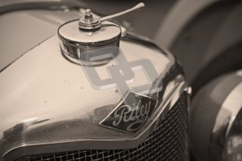 © Octane Photographic Ltd. Motors TV day – Donington Park, Saturday 31st March 2012. VSCC Pre-War Sportscars with a retro look edit, Clive Temple - Riley Brooklands. Digital ref : 0270cb1d8874