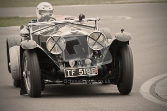 © Octane Photographic Ltd. Motors TV day – Donington Park, Saturday 31st March 2012. VSCC Pre-War Sportscars with a retro look edit, Trevor Swete - Invicta S Type. Digital ref : 0270cb1d9121