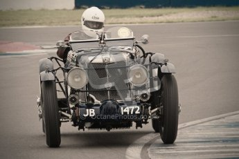 © Octane Photographic Ltd. Motors TV day – Donington Park, Saturday 31st March 2012. VSCC Pre-War Sportscars with a retro look edit, Brandon Smith-Hilliard - MG K3. Digital ref : 0270cb1d9125