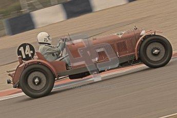 © Octane Photographic Ltd. Motors TV day – Donington Park, Saturday 31st March 2012. VSCC Pre-War Sportscars with a retro look edit, Neil Twyman - Alfa Romeo 8C. Digital ref : 0270cb7d5765