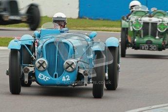 © Octane Photographic Ltd. Motors TV day – Donington Park, Saturday 31st March 2012. VSCC Pre-War Sportscars, Ralph Robins - Delahaye 135. Digital ref : 0265cb1d9146