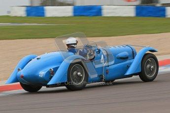 © Octane Photographic Ltd. Motors TV day – Donington Park, Saturday 31st March 2012. VSCC Pre-War Sportscars, Ralph Robins - Delahaye 135. Digital ref : 0265cb7d5781