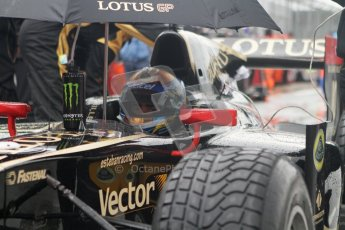 © 2012 Octane Photographic Ltd. British GP Silverstone - Saturday 7th July 2012 - GP2 Race 1 - Esteban Gutierrez shelters from the rain on the grid. Digital Ref : 0400lw7d5917i