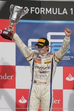 © 2012 Octane Photographic Ltd. British GP Silverstone - Saturday 7th July 2012 - GP2 Race 1 - Barwa Addax team - Johnny Cecotto with his 2nd place trophy. Digital Ref : 0400lw7d6698