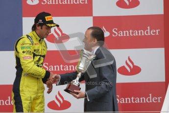 © 2012 Octane Photographic Ltd. British GP Silverstone - Sunday 8th July 2012 - GP2 Race 2 - Felipe Nasr receives his trophy. Digital Ref : 0401lw7d7645