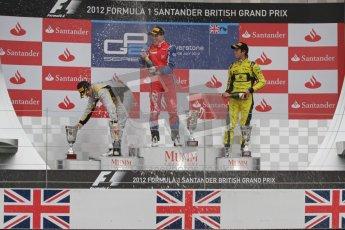 © 2012 Octane Photographic Ltd. British GP Silverstone - Sunday 8th July 2012 - GP2 Race 2 - Davide Valsecchi, Luiz Razia and Felipe Nasr on the podium. Digital Ref : 0401lw7d7665